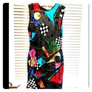 Vintage 80s Sequined Mini Dress